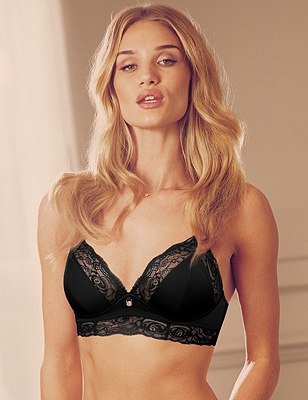 Nude Rose™ Smoothing Bralet Bra A-D with French Designed Lace & Silk Trims, BLACK, catlanding