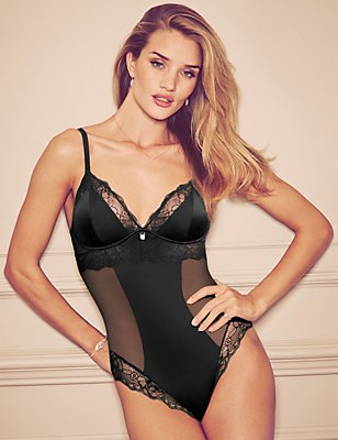 Nude Rose™ Smoothing Panelled Mesh A-D Body with French Designed Rose Lace & Silk Trims ONLINE ONLY, BLACK, catlanding