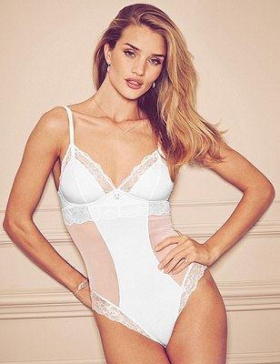 Nude Rose™ Smoothing Panelled Mesh A-D Body with French Designed Rose Lace & Silk Trims ONLINE ONLY, WHITE, catlanding