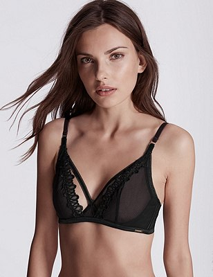 Kira Embroidered Wired Plunge Bralet A-C, BLACK, catlanding