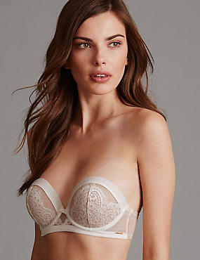 Lisette Lace Multiway Padded Balcony Bra A-DD, CREAM MIX, catlanding