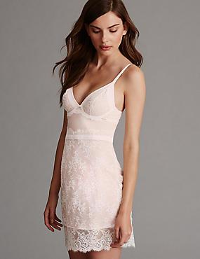 Braut-Unterkleid mit Lisette-Spitze und Bügel (A–D), CREME MELANGE, catlanding