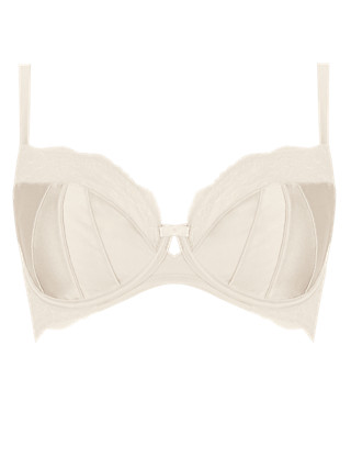 Silk Underwired Non-Padded Balcony Bra A-DD with French Rose Lace Clothing