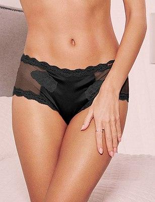 Silk & Motif Lace Low Rise Shorts, BLACK, catlanding