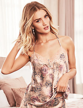 Silk & Lace Print Swing Camisole, OYSTER, catlanding