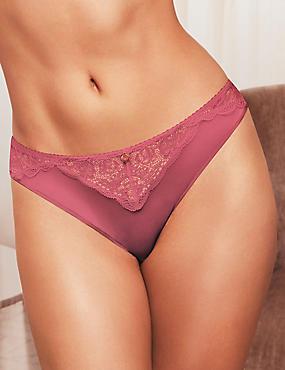 Silk & Lace Brazilian Knickers, ROSE, catlanding