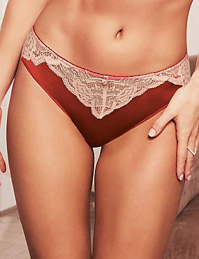 Silk & Lace Brazilian Knickers, BURNT ORANGE, catlanding