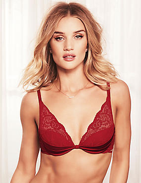 Silk & Lace Padded Beau Plunge Bra A-E, RED, catlanding