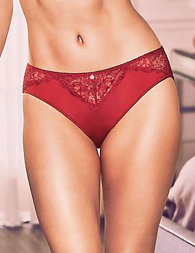 Silk & Lace High Leg Knickers, RED, catlanding