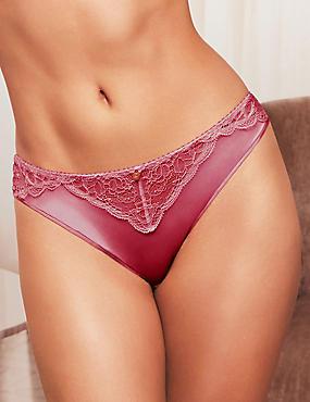 Silk & Lace High Leg Knickers, ROSE, catlanding