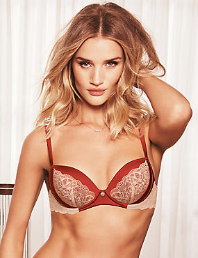 Silk & Lace Padded Balcony Bra A-E, BURNT ORANGE, catlanding