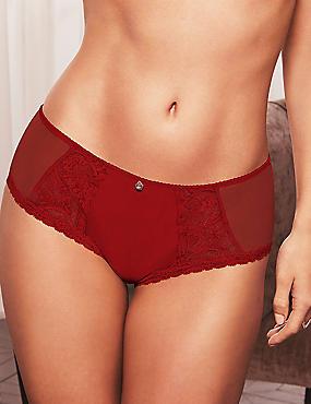 Braguitas culotte de seda y encaje, RED, catlanding