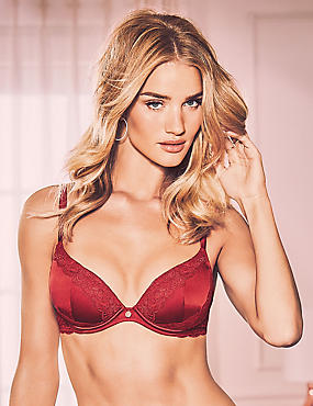 Silk & Lace Padded Plunge Bra A-E, RED, catlanding