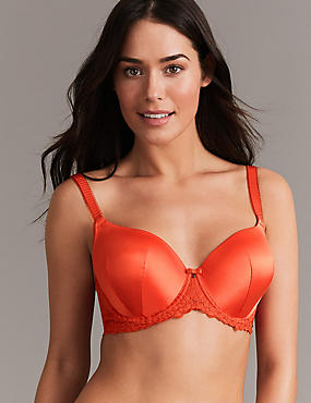 Embroidered Padded Full Cup Bra A-E, FLAME, catlanding