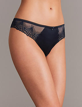 Satin Embroidered Thong, NAVY, catlanding