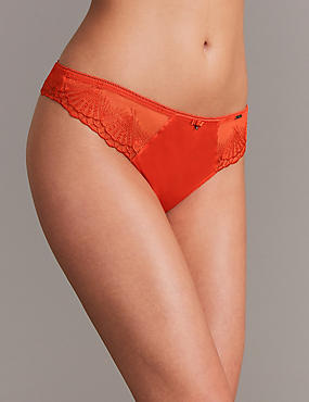 Satin Embroidered Thong, FLAME, catlanding