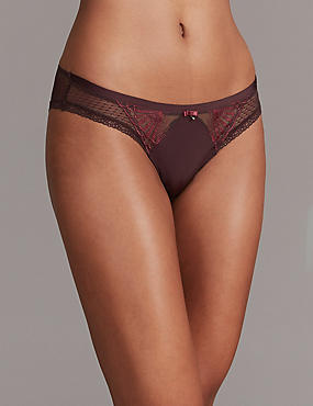 Embroidered Brazilian Knickers, DARK GRAPE, catlanding