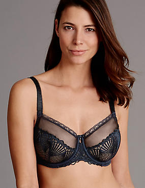 Embroidered Non-Padded Balcony Bra DD-G, NAVY, catlanding