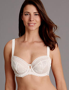 Embroidered Non-Padded Balcony Bra DD-G, CREAM, catlanding