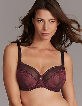 Embroidered Non-Padded Balcony Bra DD-G, DARK GRAPE, catlanding