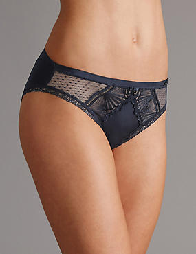 Embroidered High Leg Knickers, NAVY, catlanding