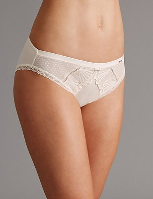 Embroidered High Leg Knickers, CREAM, catlanding