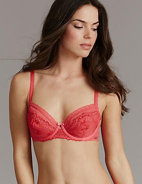 Embroidered Non-Padded Balcony Bra A-DD, DARK CORAL, catlanding