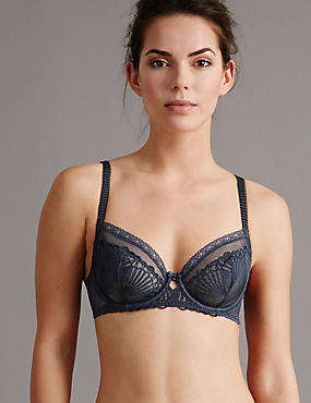 Embroidered Non-Padded Balcony Bra A-DD, NAVY, catlanding