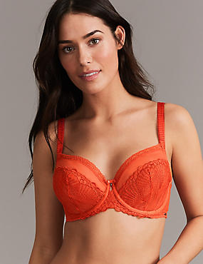 Embroidered Non-Padded Balcony Bra A-DD, FLAME, catlanding