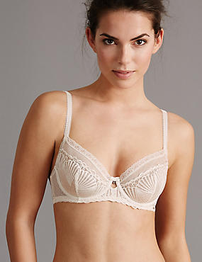 Embroidered Non-Padded Balcony Bra A-DD, CREAM, catlanding