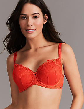 Embroidered Padded Balcony Bra A-E, FLAME, catlanding