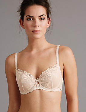 Embroidered Padded Balcony Bra A-E, CREAM, catlanding