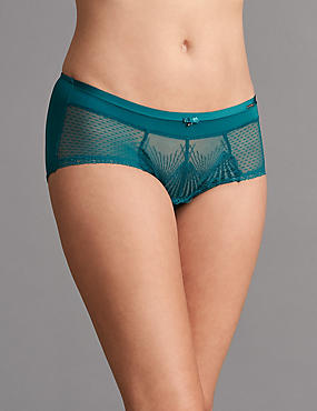Embroidered High Rise Shorts, DARK TURQUOISE, catlanding