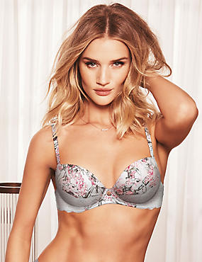 Silk & Lace Printed Padded Balcony Bra A-E, LIGHT GREY MIX, catlanding