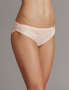 Dentelle Lace Low Rise Brazilian Knickers, POWDER, catlanding