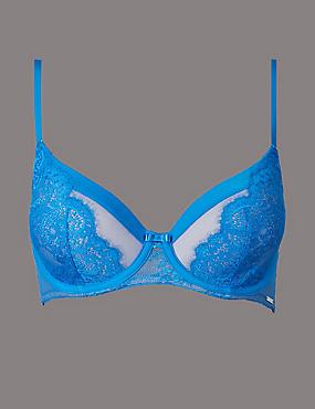 Dentelle Lace Padded Full Cup Bra A-E, BRIGHT BLUE, catlanding