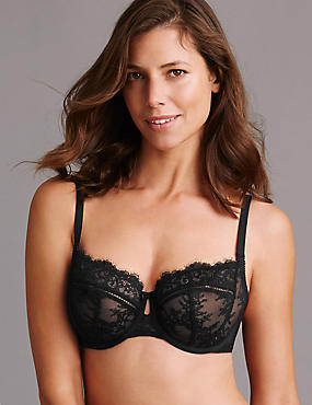 Dentelle Lace Non-Padded Balcony Bra DD-G, BLACK MIX, catlanding