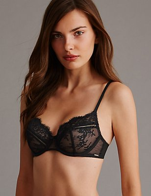 Dentelle Lace Non-Padded Balcony Bra A-DD, BLACK MIX, catlanding