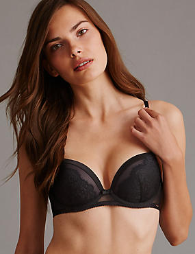 Dentelle Lace Padded Balcony Bra A-E, BLACK MIX, catlanding