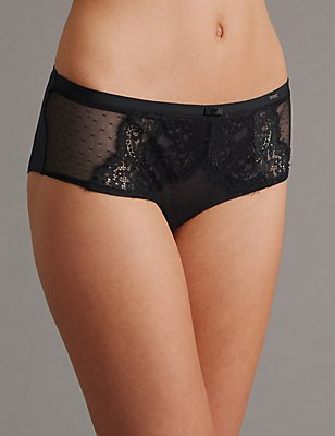 Dentelle Lace Low Rise Short, BLACK MIX, catlanding