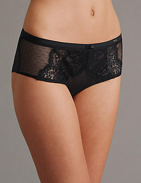 Shorty taille basse orné de dentelle, BLACK MIX, catlanding