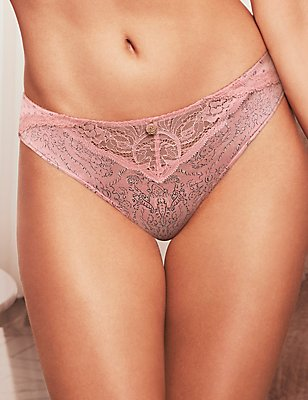 Silk & Lace Printed Brazilian Knickers, ROSE, catlanding