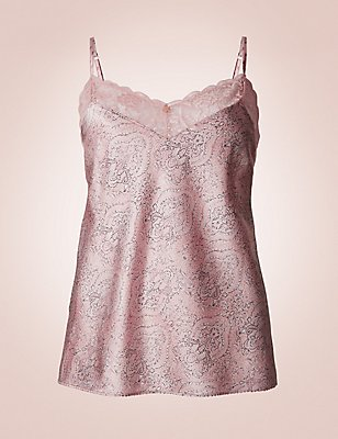 Silk & Lace Paisley Print Camisole, ROSE, catlanding