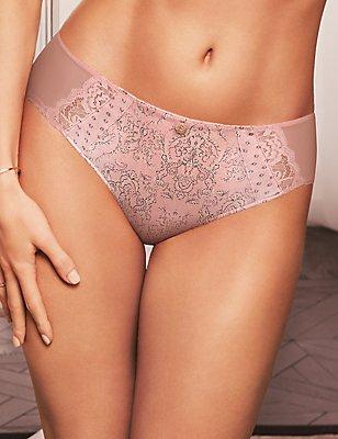 Silk & Lace Printed Shorts, ROSE, catlanding