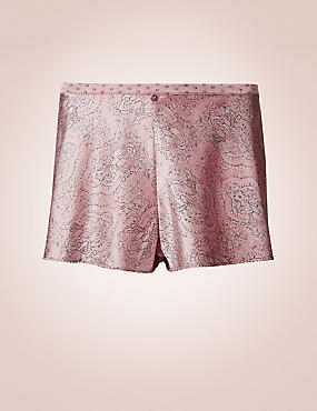 Silk Rich Paisley Print French Knickers, ROSE, catlanding