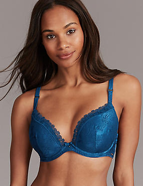 Embroidered Padded Plunge Bra A-E, DARK PETROL, catlanding