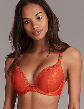 Embroidered Padded Plunge Bra A-E, COPPER, catlanding