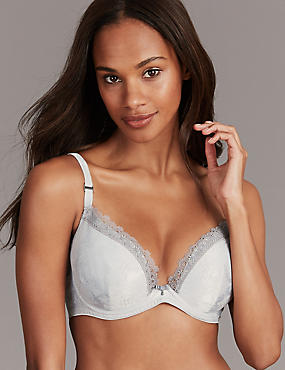 Satin Embroidered Trim Padded Plunge Bra A-E, SILVER, catlanding