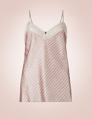 Silk & Lace Printed Camisole, ROSE, catlanding