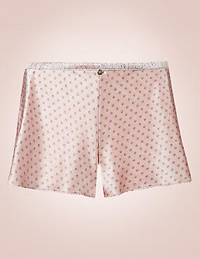 Silk Rich Spotted Print French Knickers, ROSE, catlanding